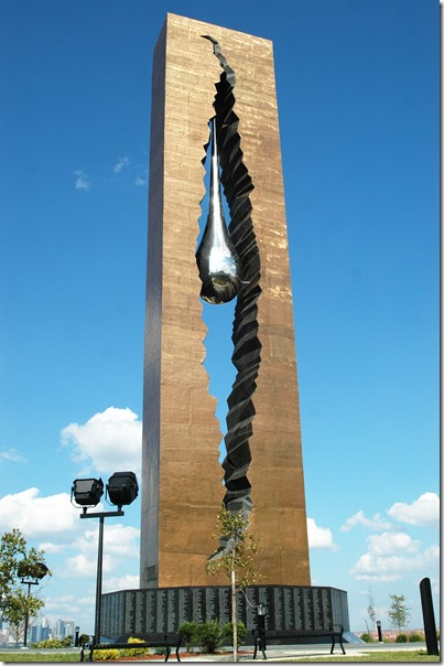 """The 9/11 memorial monument """"To the Struggle against World Terrorism"""" a gift from the people of Russia to Bayonne in Bayonne, Tuesday, August 19, 2008. -- BYRON SMITH / THE JERSEY JOURNAL"""